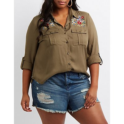 Plus Size Embroidered Button-Up Shirt