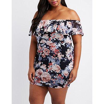 Plus Size Floral Mesh Off-The-Shoulder Dress