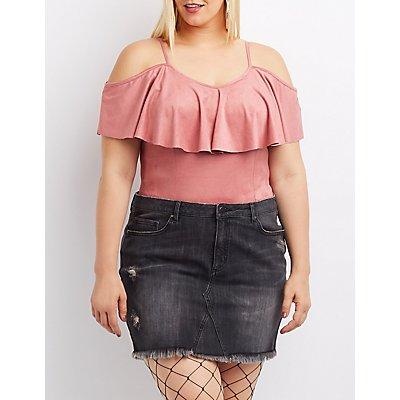 Plus Size Ruffle-Trim Faux Suede Bodysuit