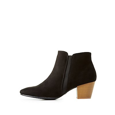 Qupid Faux Suede Ankle Boots