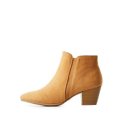 Qupid Faux Suede Ankle Booties