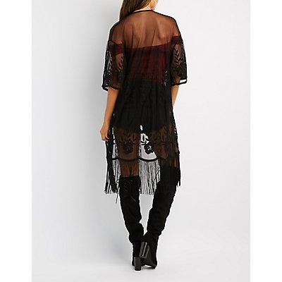 Lace Fringe-Hem Duster Kimono