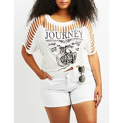 Plus Size Destroyed Journey Graphic Tee