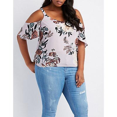 Plus Size Floral Cold Shoulder Top