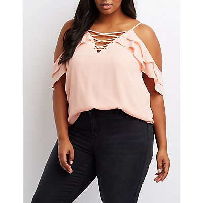 Plus Size Ruffle Lace-Up Cold Shoulder Top