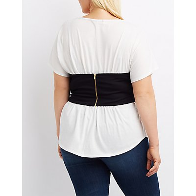 Plus Size Corset-Detail Crew Neck Tee