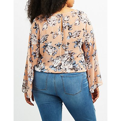 Plus Size Floral Kimono Sleeve Crop Top