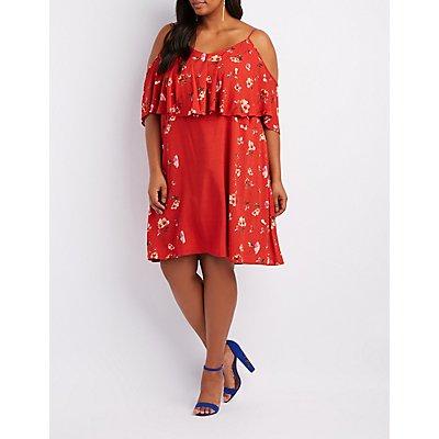 Plus Size Floral Ruffle Cold Shoulder Dress