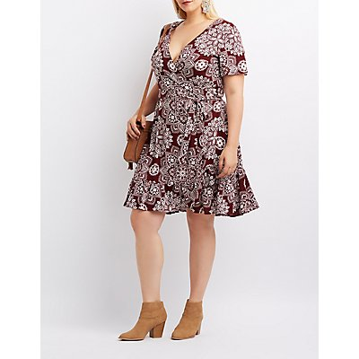 Plus Size Floral Wrap-Tie Skater Dress