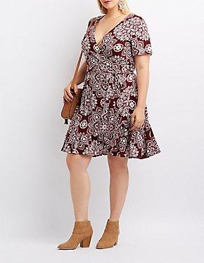 Plus Size Floral Wrap-Tie Skater Dress