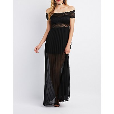 Lace Combo Off-The-Shoulder Maxi Dress