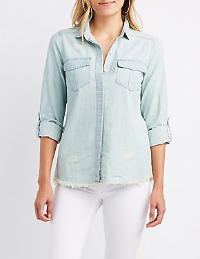 Frayed Chambray Button-Up Shirt