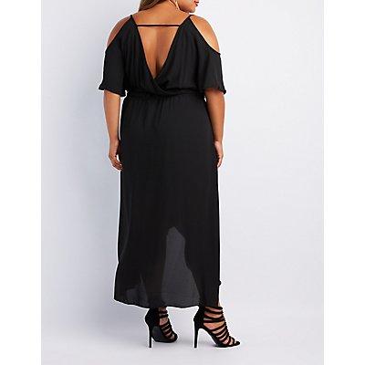 Plus Size Surplice Cold Shoulder Maxi Dress