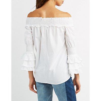 Smocked Off-The-Shoulder Bell Sleeve Top