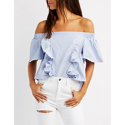 Ruffle-Front Off-The-Shoulder Top