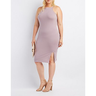 Plus Size Bib Neck Bodycon Slit Dress
