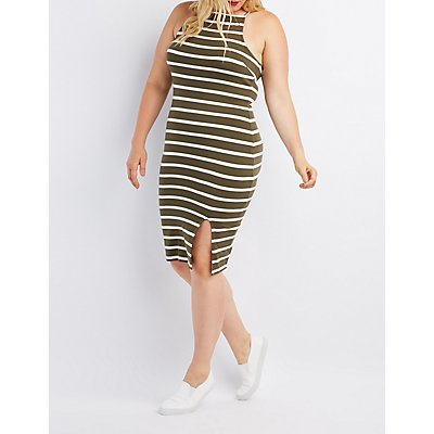 Plus Size Striped Bib Neck Bodycon Slit Dress