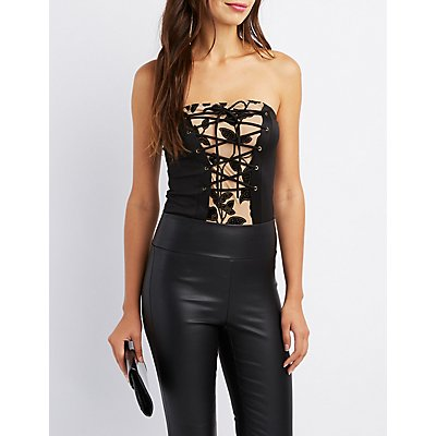 Mesh-Inset Lace-Up Top