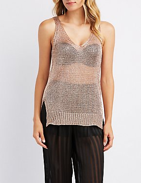 Metallic Open Knit Tunic