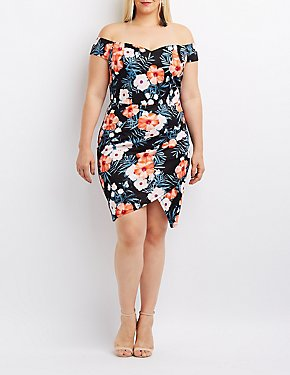 Plus Size Floral Off-The-Shoulder Bodycon Dress