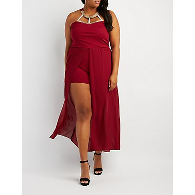 Plus Size Embellished Neck Maxi Romper