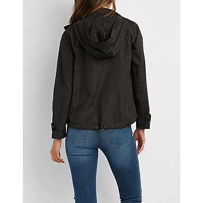 Hooded Cropped Anorak Jacket