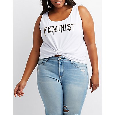 Plus Size Feminist Cropped Tank Top