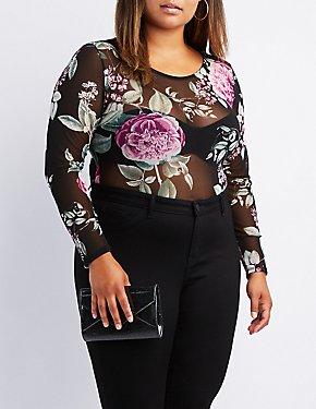 Plus Size Floral Mesh Bodysuit