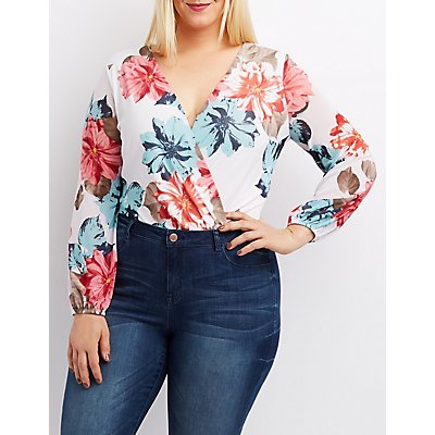 Plus Size Floral Mesh Surplice Bodysuit