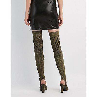 Bamboo Peep Toe Thigh-High Boots