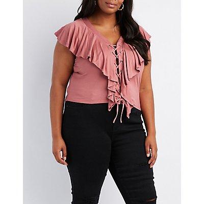 Plus Size Ruffle-Trim Lace-Up Top