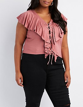 Plus Size Ruffle-Trim Lace-Up Top