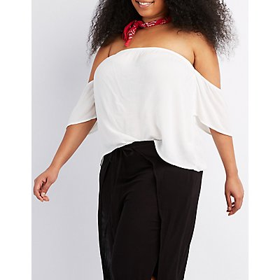 Plus Size Gauze Off-The-Shoulder Top