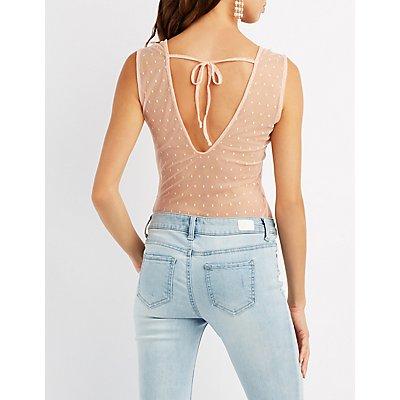 Mesh & Lace Open-Back Bodysuit