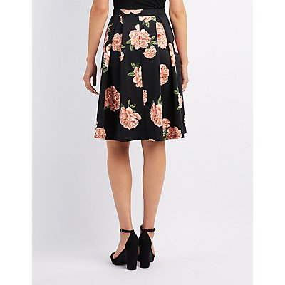 Floral Full Pleated Skirt