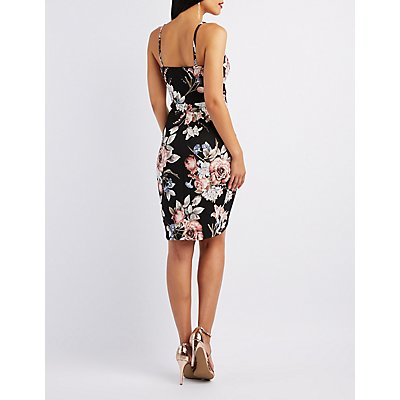 Floral Bodycon Wrap Dress