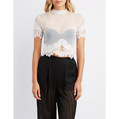 Lace-Trim Mock Neck Crop Top