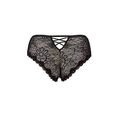 Plus Size Lace Lattice-Back Cheeky Panties