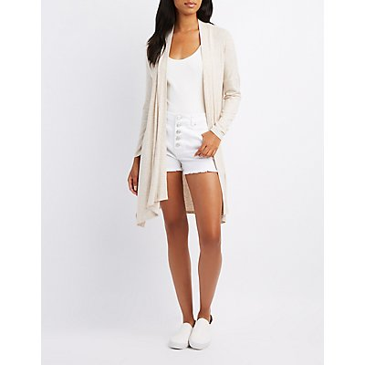 Ribbed Sharkbite Longline Cardigan