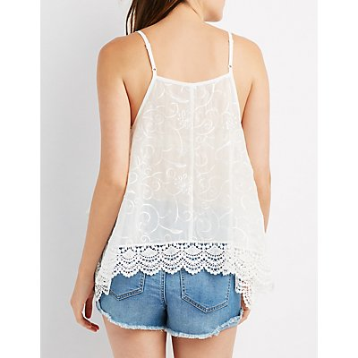 Embroidered Crochet-Trim Tank Top