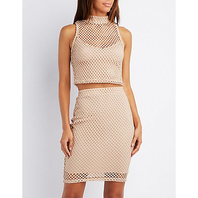 Fishnet Mock Neck Crop Top