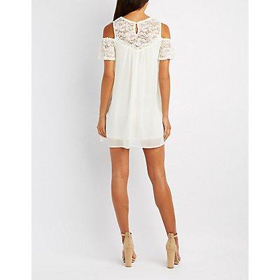 Crochet-Trim Lace Yoke Cold Shoulder Dress