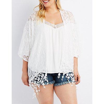 Plus Size Lace Crochet-Hem Kimono