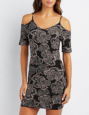 Boho Print Cold Shoulder Bodycon Dress