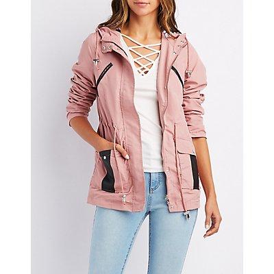 Leather-Trim Hooded Anorak Jacket
