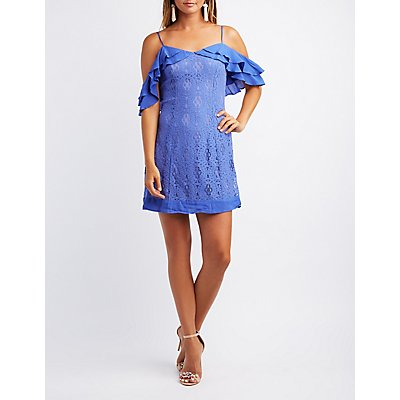Lace Combo Ruffle Cold Shoulder Dress