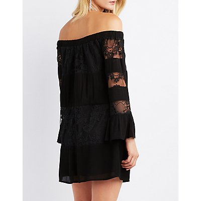 Lace-Inset Off-The-Shoulder Shift Dress