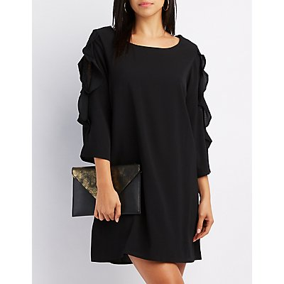 Ruffle & Lace-Trim Shift Dress