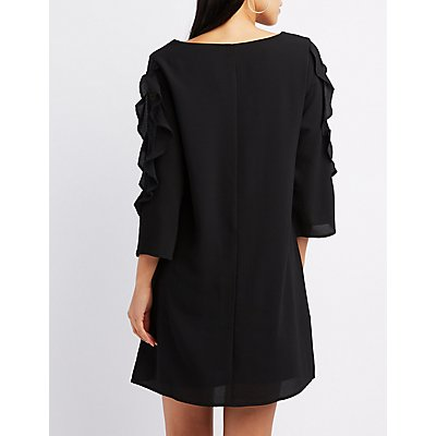 Ruffle & Lace-Trim Shift Dress