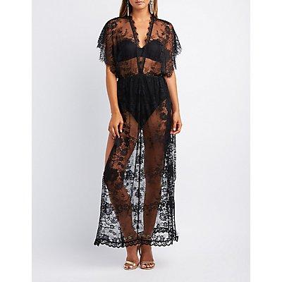 Eyelash Lace Keyhole Maxi Dress